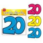 3 stickers décoratifs 20 ans