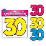 3 stickers décoratifs 30 ans