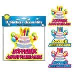 3 stickers décoratifs Joyeux Anniversaire