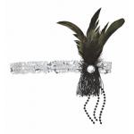 Bandeau paillettes à plumes et perles