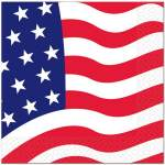 16 serviettes drapeau USA