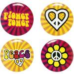4 badges hippie