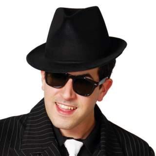 Chapeau gangster noir floqué