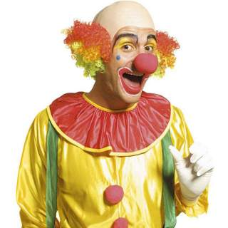 Crâne chauve avec cheveux de clown