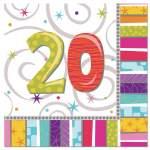 16 serviettes anniversaire 20 ans