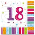 16 serviettes anniversaire 18 ans