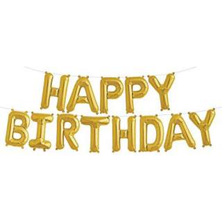 Ballons lettres Happy Birthday or