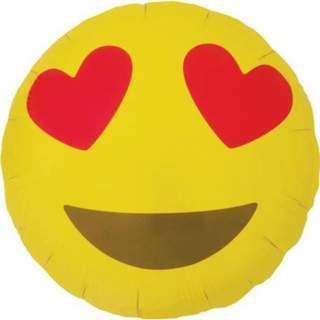 Ballon smiley yeux en coeurs