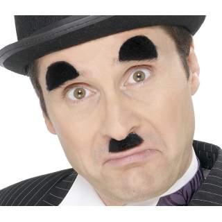 Moustache et sourcils Charlot noire