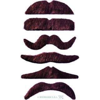 Pack de 12 moustaches chatain foncé