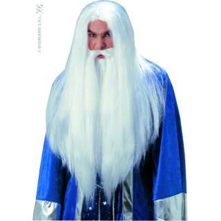 Perruque de sorcier avec barbe blanche