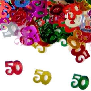 Confettis chiffre 50 multicolores