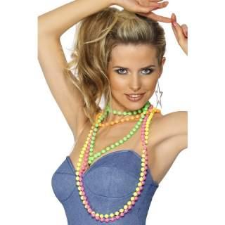 Lot de 4 colliers de perles fluo