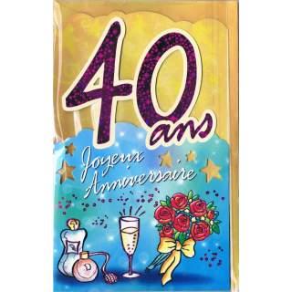 Carte Joyeux Anniversaire 40 Ans Mega Fete