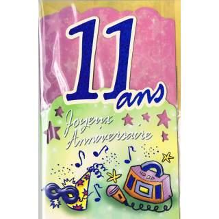 Carte Joyeux Anniversaire 11 Ans Mega Fete