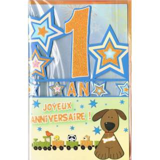 Carte Joyeux Anniversaire 1 An Mega Fete