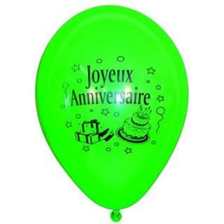 10 ballons joyeux anniversaire assortis