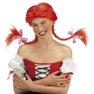 Perruque rouge avec deux tresses