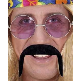 Moustache hippie noire adhésive