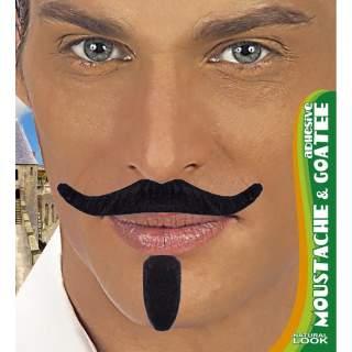 Moustache noire adhésive avec bouc