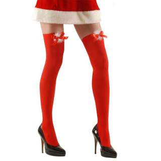 Bas rouge Mère Noël avec noeuds