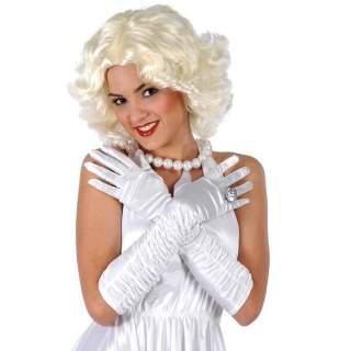 Gants blancs long plissés