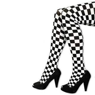 Collants à damier noir et blanc